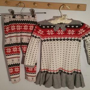 Gymboree Dresses - Gymboree Size 3T  Red Snowflake Sweater Dress Pant